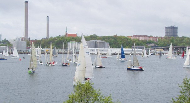 Segelbåtar som cirklar runt inför starten på kappsegling.