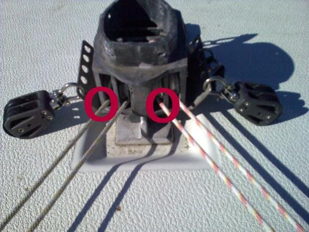 Linorna skaver på väg in i mastfoten.